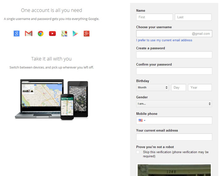Google account information page