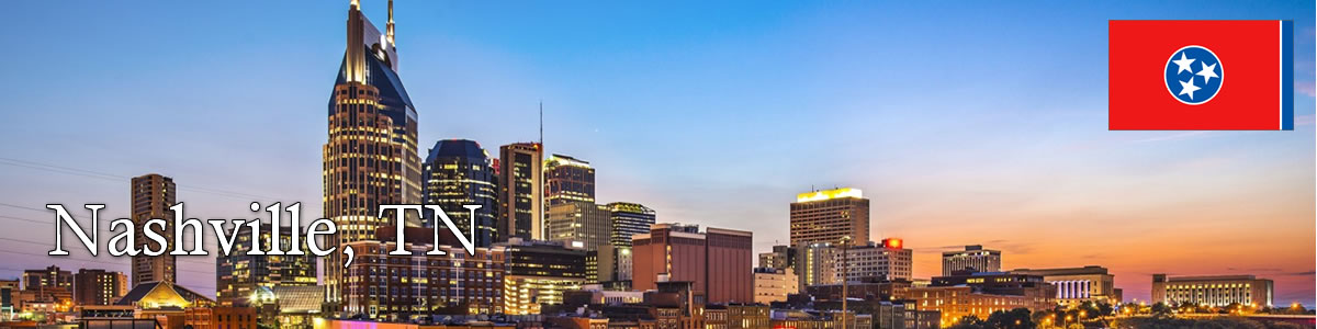 nashville tennessee skyline at sunset