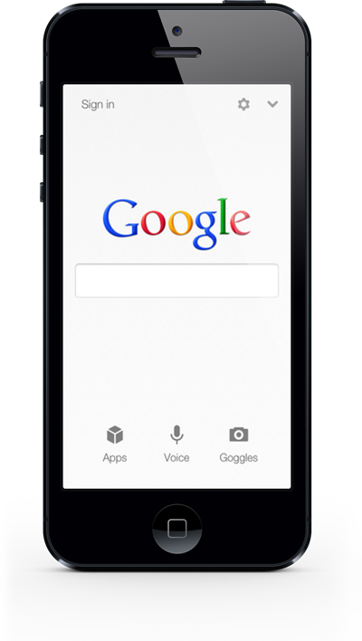 smart phone on Google homepage