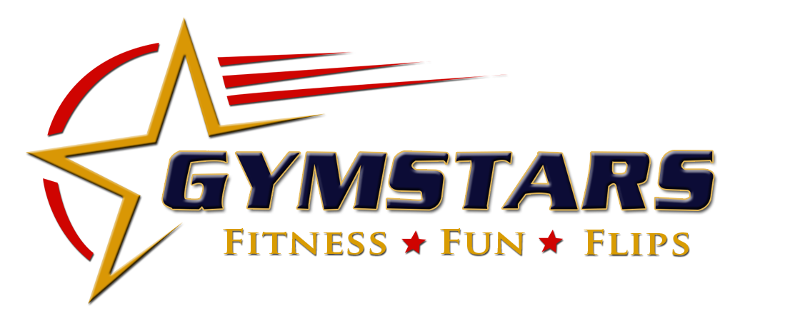 Gymstars logo blue red and yellow
