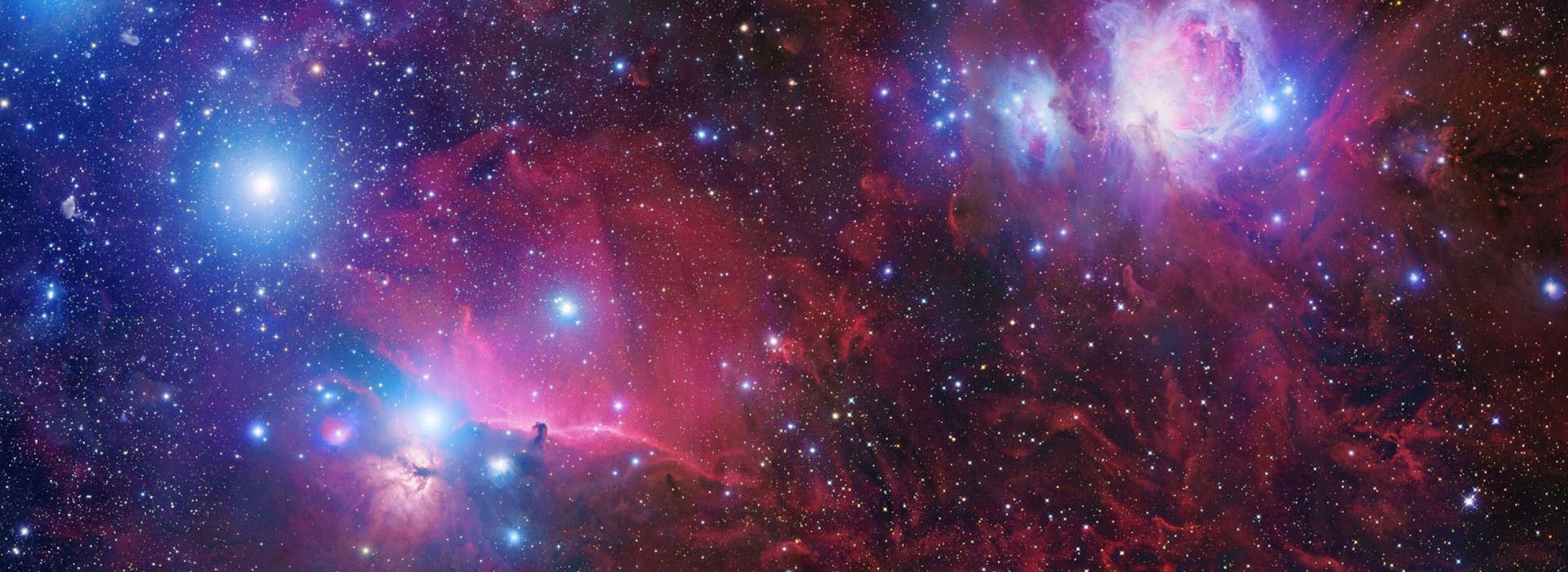 Picture of space in all the colors red and blue
